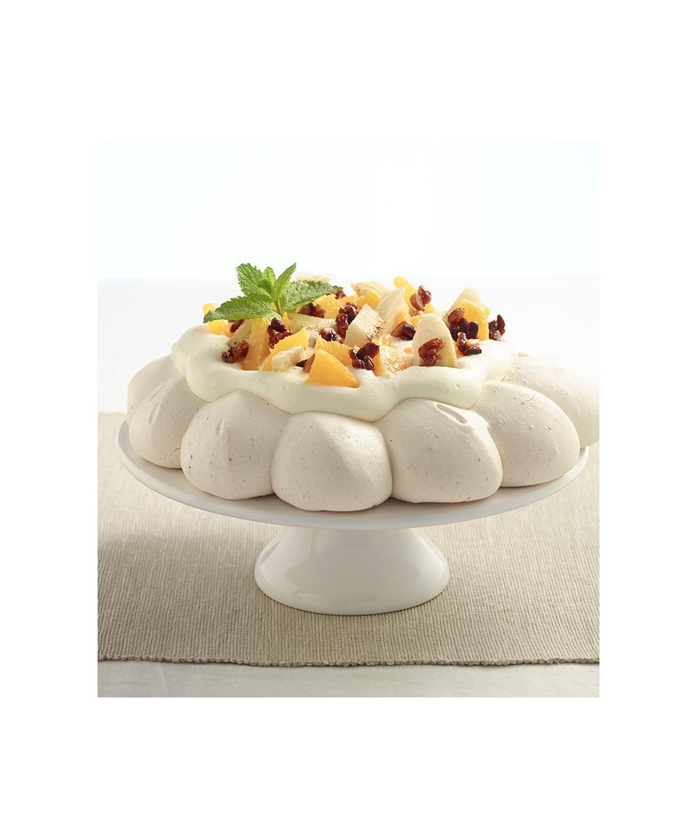 Meringue, Crème fouettée à la fleur d'oranger, oranges, bananes, pignons caramélisés
